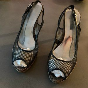 GUESS mesh slingback with cork heel